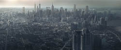 Matte painting and camera mapping. One city for each ad in the word