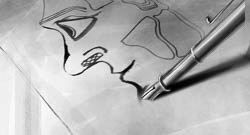 Storyboard concept art for a Short Movie directed by Philippe Parreno.  The idea to talk about Marylin without showing her. Just listening her, showing her writting. A kind of exorcism.